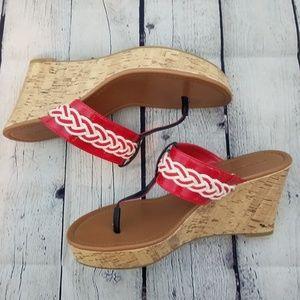 TOMMY HILFIGER red wedge sandals